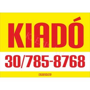 Kiadó színes felirat, matrica, tábla, ponyva 65×47 cm (sárga-piros)