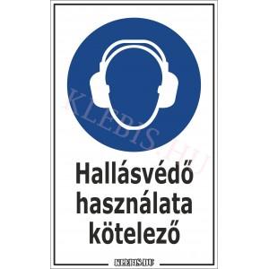 Hallásvédő használata kötelező matrica, 6×10 cm