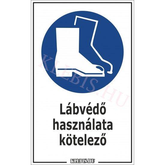 Lábvédő használata kötelező matrica, 6×10 cm