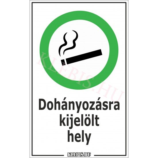 Dohányzásra kijelölt hely matrica, 6×10 cm
