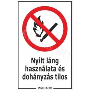 Nyílt láng használata és dohányzás tilos matrica, 6×10 cm