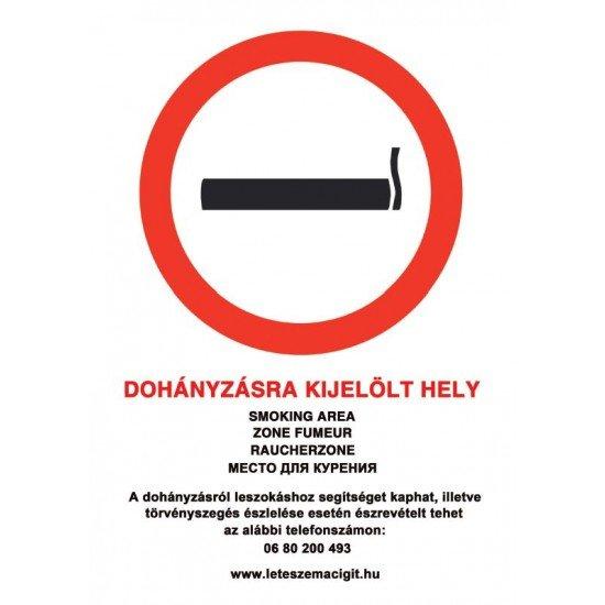 Dohányzásra kijelölt hely - tábla, matrica - 5 nyelvű, kormányrendelet alapján (ÚJ 80-as zöld számmal) A4 méretű