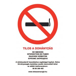 Tilos a dohányzás - tábla, matrica - 5 nyelvű, kormányrendelet alapján (ÚJ 80-as zöld számmal) A4 méretű