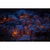 Éjszakai falu - vászonkép, vászonfotó, vakráma 45 × 30 cm